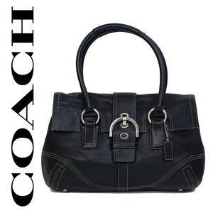 Coach Black Leather Soho Bag Buckle Flap Front